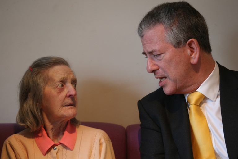 <p>Liberal Democrat candidate Mike Thornton speaks with Isabel Howell, 81, as he meets pensioners in a community center as he campaigns in the final day for forthcoming by-election on Febr. 27, 2013 in Eastleigh, Hampshire.</p>