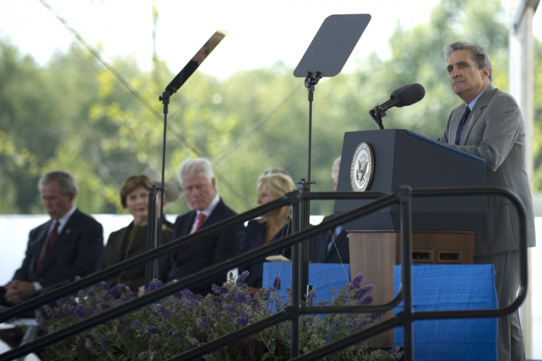 <p>Poet Robert Pinsky reads during ceremonies at the Flight 93 Memorial on Sept. 10, 2011, in Shanksville, Pa.</p>