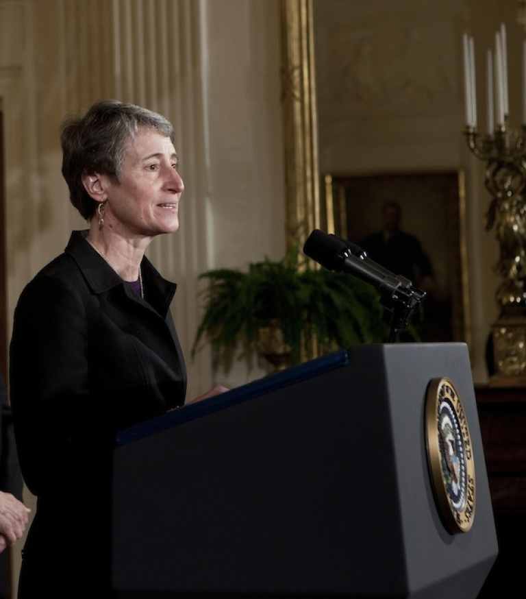 <p>WASHINGTON - FEBRUARY 16 2011: Sally Jewell, CEO of REI, speaks at America's Great Outdoors Initiative which encourages Americans to connect with the outdoors and conserve its environment. Jewell is expected to be nominated as Interior Secretary.</p>