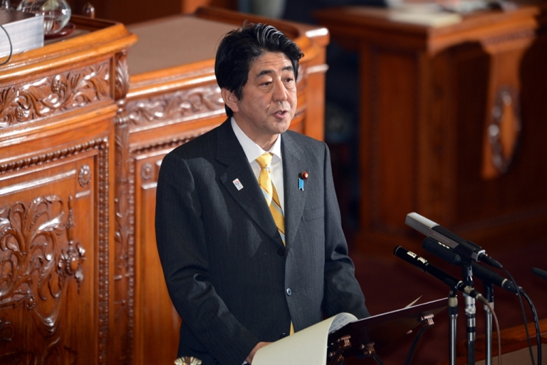 <p>Japanese Prime Minister Shinzo Abe speaks at the Upper House's plenary session at the National Diet in Tokyo on Feb. 1, 2013.</p>