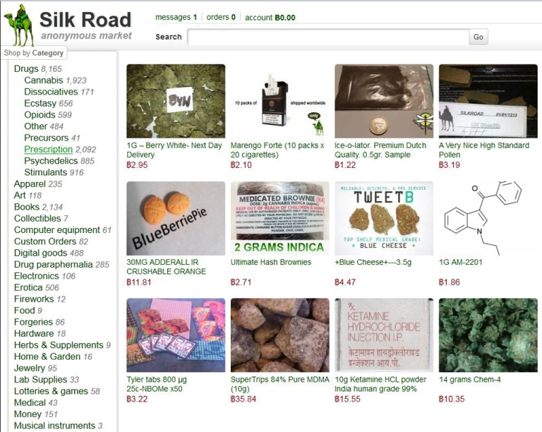 <p>A screenshot of Silk Road's website.</p>