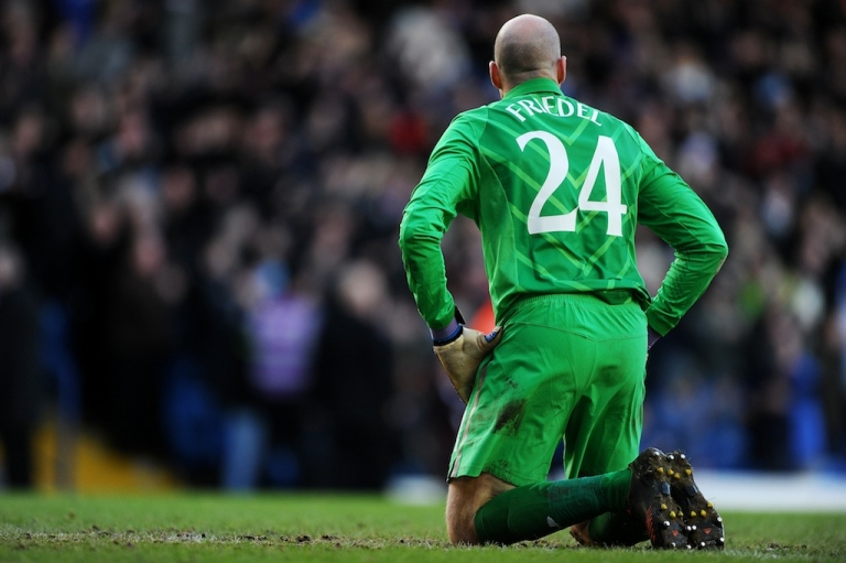 <p>Dejected goalkeeper Brad Friedel of Spurs looks on after conceding a second goal during the FA Cup on Jan. 27, 2013 in Leeds, England.</p>
