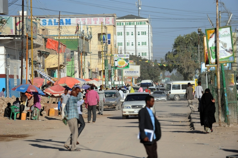 <p>People walk in a street of Hargeisa, Somaliland, the northern breakaway nation of war-torn Somalia on Oct. 31, 2012. While war rages in southern Somalia — where regional armies and government troops battle Al Qaeda allied Al Shabaab fighters — the relative stability achieved in Somaliland offers a sliver of hope for the rest of the anarchic land.</p>