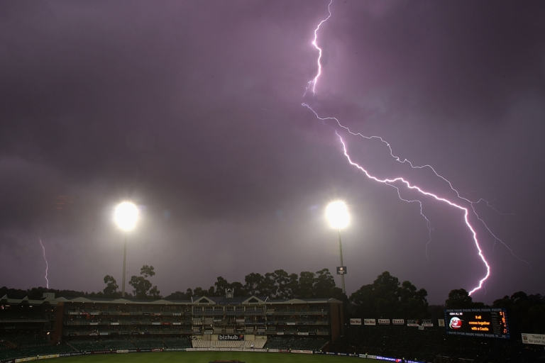 <p>Lightning breaks over the ground as play is abandoned for the day due to rain and bad light during day three of the First Test between South Africa and Australia played at the Wanderers on February 28, 2009 in Johannesburg, South Africa.</p>