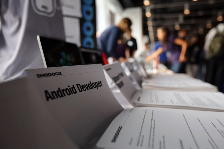 <p>Job applicants meet potential employers at the NYC Startup Job Fair held at 7 World Trade Center on Sept. 28, 2012, in New York City. Despite the distance from California's Silicon Valley and New York's Silicon Alley, a small startup scene — aptly dubbed Silicon Prarie — is emerging in the Midwest.</p>