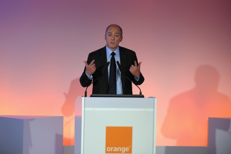 <p>France Telecom-Orange CEO Stephane Richard presents the groups 2012 results in Paris on Feb. 20, 2013.</p>