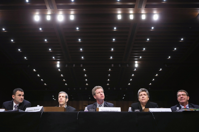 <p>(L-R) Office of Management and Budget Federal Controller Danny Werfel, Education Secretary Arne Duncan, Housing and Urban Development Secretary Shaun Donovan, Homeland Security Janet Napolitano and Deputy Defense Secretary Ashton Carter testify before the Senate Appropriations Committee about the potential impacts of
