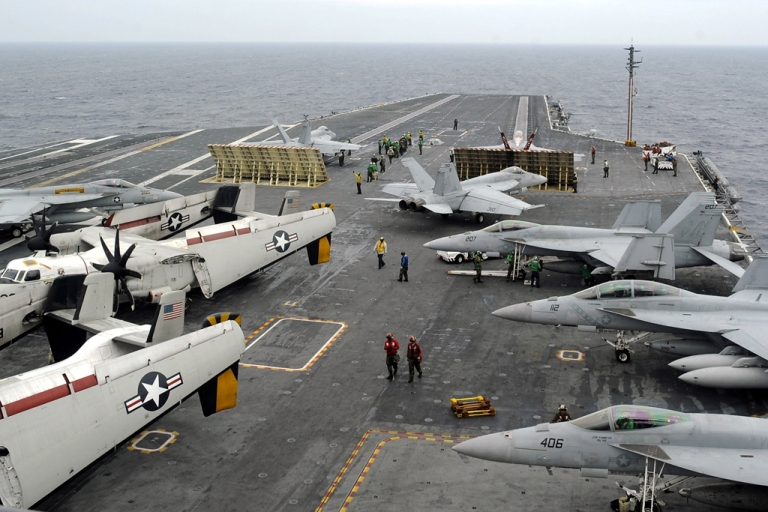 <p>The USS George Washington during a joint US and South Korea military exercise on the Korean Peninsula's west sea on June 24, 2012.</p>