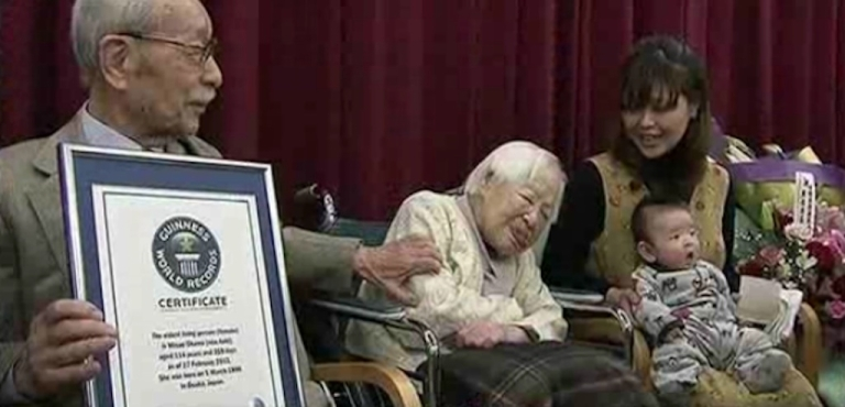 <p>Misao Okawa, with her 2-month-old great-grandson Hibiki by her side, was named the world's oldest woman at 114.</p>