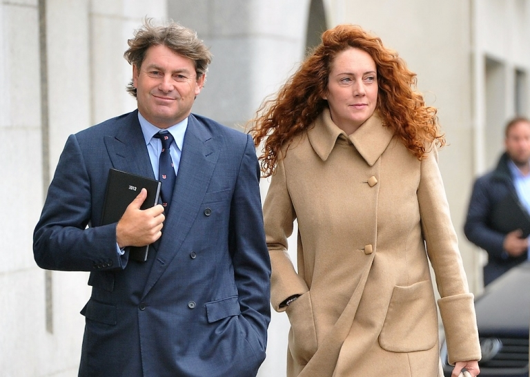 <p>Former News of the World editor Rebekah Brooks and her husband Charlie Brooks arrive at the Old Bailey court in central London on Sept. 26, 2012 in London, England.</p>