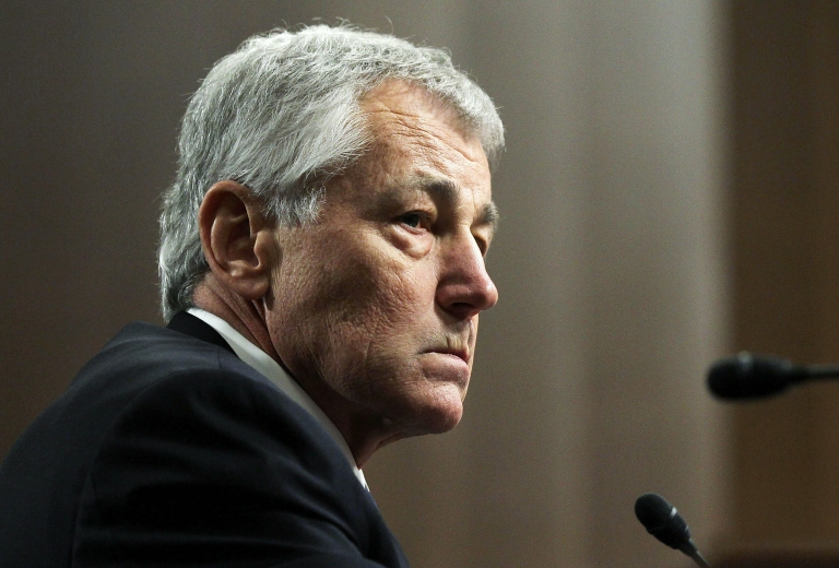 <p>Former US Senator Chuck Hagel testifies before the Senate Armed Services Committee during his confirmation hearing to become the next secretary of defense on Capitol Hill January 31, 2013 in Washington, DC. Hagel was questioned over his support for the nuclear disarmament group Global Zero.</p>
