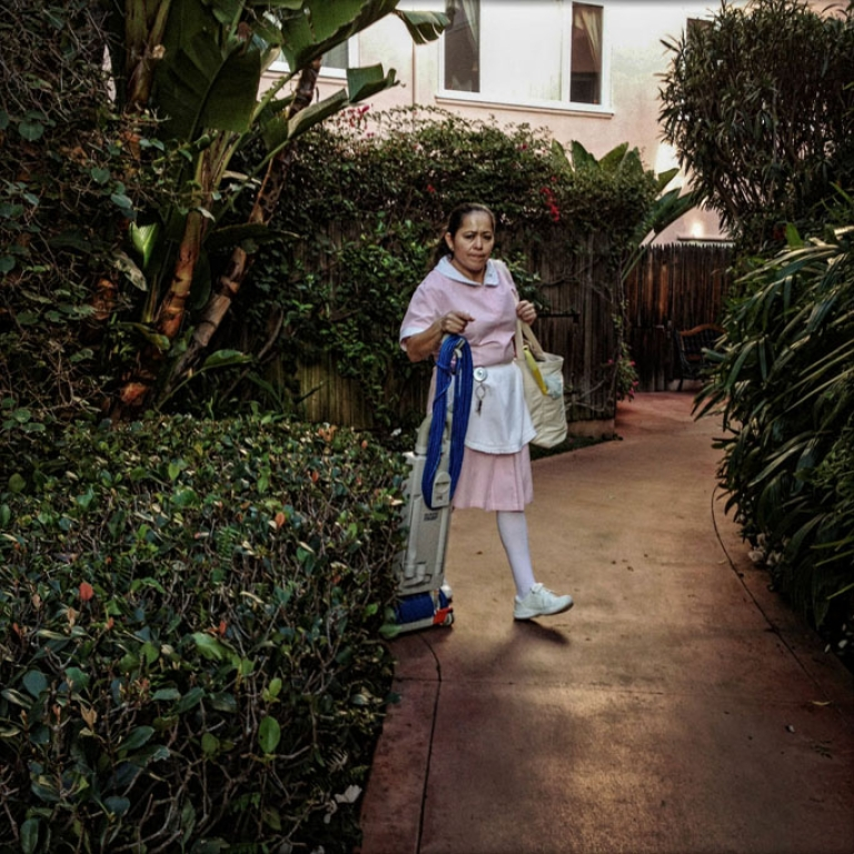 <p>A cleaning woman at the Beverly Hills Hotel, where the rich and famous come to stay.</p>