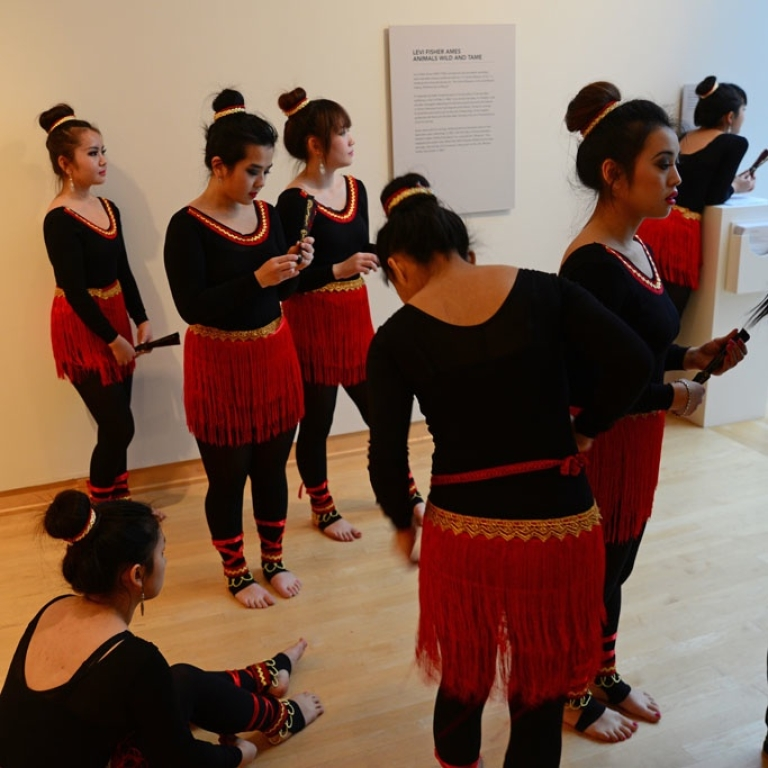 <p>The John Michael Kohler Art Center is one of the great cultural institutions that binds the Sheboygan community together. The Family Festival of China featured art, dance and Ping Pong. These Chinese dancers wait to perform.</p>
