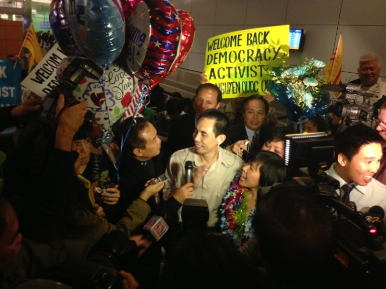 <p>Vietnamese-American Nguyen Quoc Quan returns home to California after nine months of detention in Saigon on January 30th.</p>
