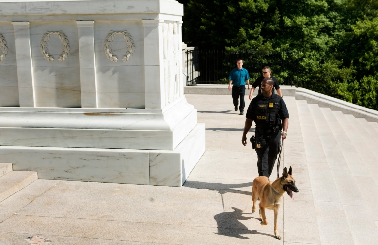 <p>A Secret Service dog fell to its death Saturday evening in New Orleans while it did a security sweep of a parking lot near a hotel where the Vice President spoke.</p>