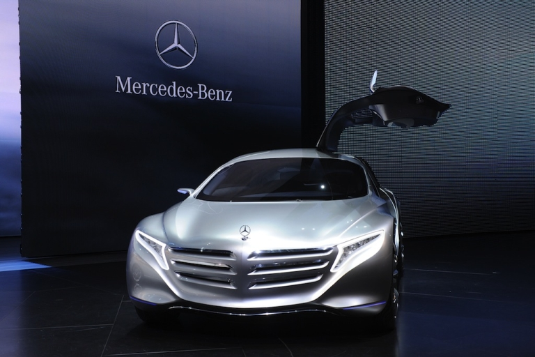 <p>A Mercedes-Benz F 125 Concept fuel cell hybrid car is on display at the international motor show in Frankfurt, Germany, on Sept. 14, 2011. Daimler AG, the parent company of Mercedes-Benz, announced a partnership with Ford and Renault-Nissan to speed development of fuel cell cars.</p>