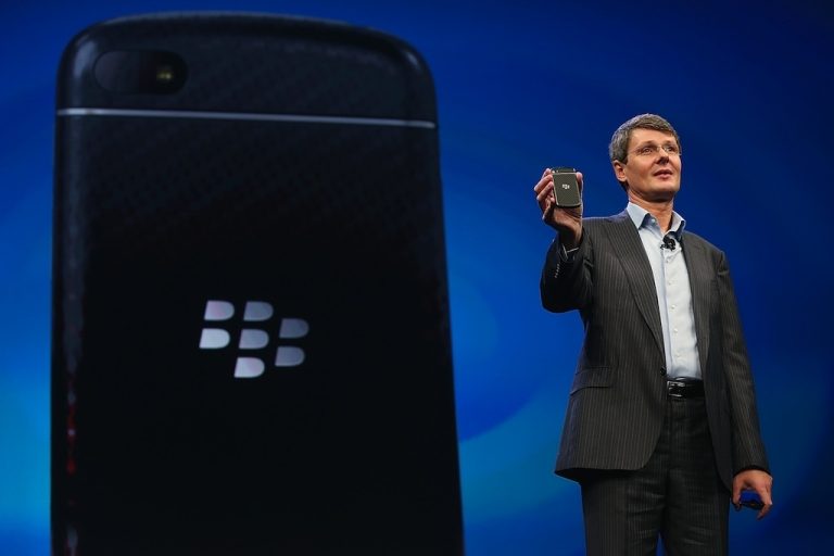 <p>BlackBerry Chief Executive Officer Thorsten Heins displays one of the new Blackberry smartphones at the BlackBerry 10 launch event by Research in Motion at Pier 36 in Manhattan on January 30, 2013 in New York City. The new smartphone and mobile operating system is being launched simultaneously in six cities.</p>
