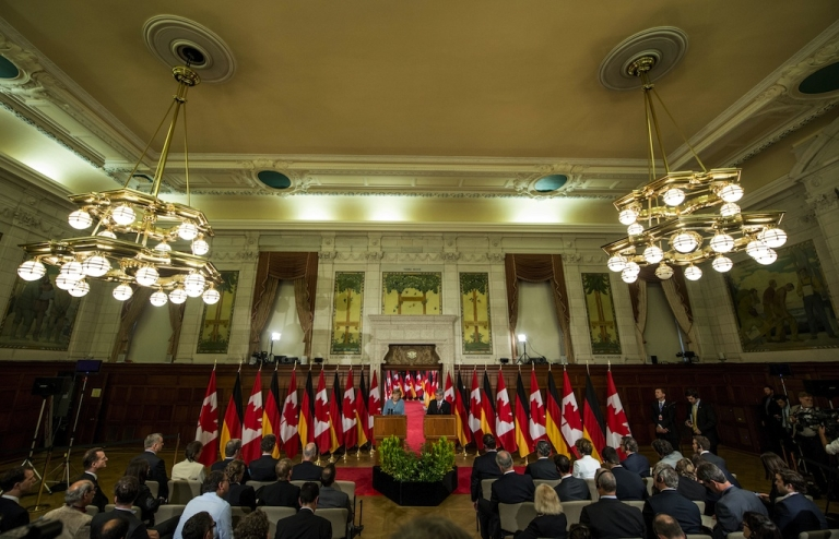 <p>A press conference is held in the Canadian Parliament in Ottawa, Ontario on August 16, 2012.</p>