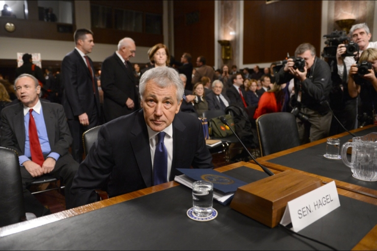 <p>Former US Senator Chuck Hagel, US President Barack Obama's nominee for secretary of defense, sits at the start his confirmation hearing before the Senate Armed Services Committee on Capitol Hill in Washington, DC, on January 31, 2013.</p>