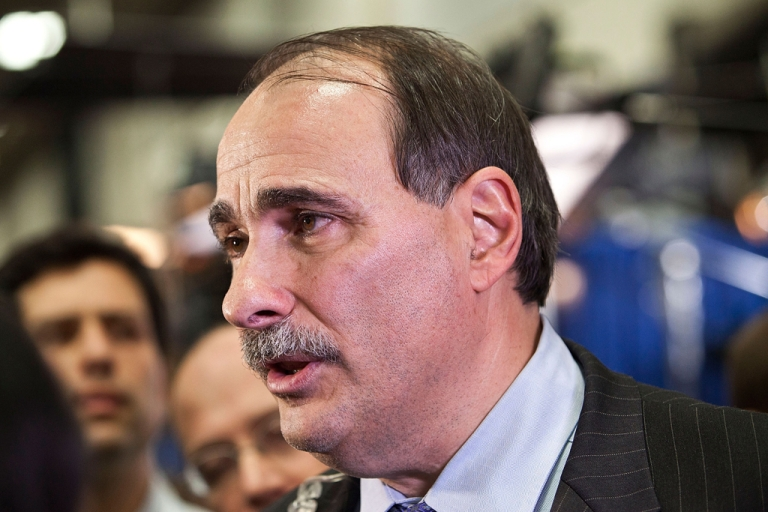 <p>Democratic political consultant David Axelrod speaks to members of the media after the second presidential debate on Oct. 16, 2012 in Hempstead, New York.</p>