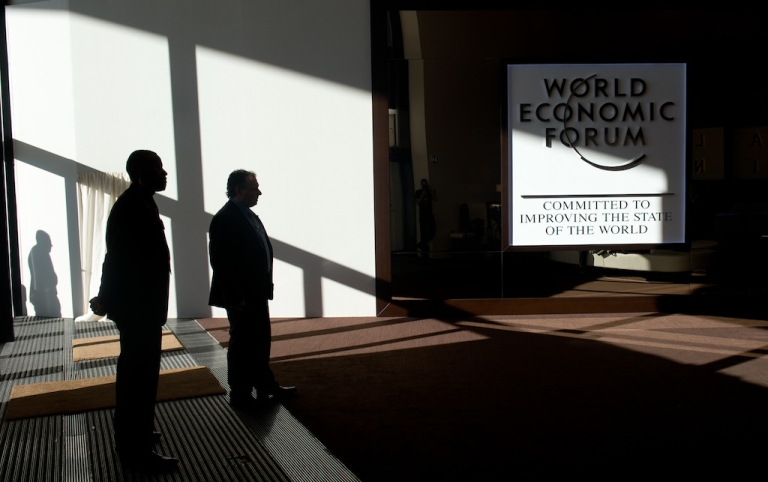 <p>A logo of the World Economic Forum Annual Meeting 2013 is pictured on January 26, 2013 at the Swiss resort of Davos.</p>