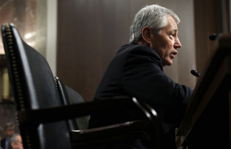 <p>Former U.S. Senator Chuck Hagel testifies before the Senate Armed Services Committee during his confirmation hearing to become the next secretary of defense on Capitol Hill on Jan. 31, 2013 in Washington, DC.</p>