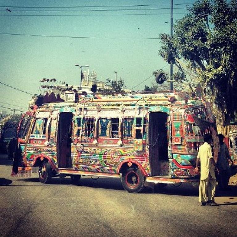 <p>A common form of public transportation in Karachi.</p>