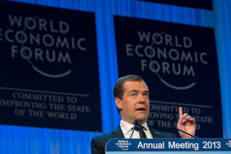 <p>Russian Prime Minister Dmitry Medvedev addresses a session of the annual World Economic Forum (WEF) meeting in Davos, Switzerland, on Jan. 23, 2013.</p>