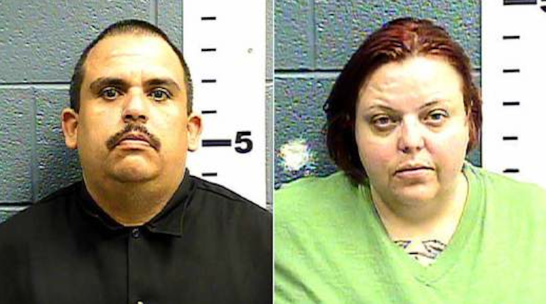 <p>According to Sky News, this picture shows Edmond Gonzales and Cindy Patriarchias, who have been charged for locking an eight-year-old disabled girl in a cage.</p>