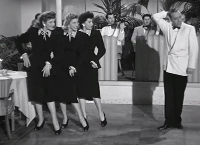<p>Patty Andrews, second from left, with the other Andrews Sisters and Bing Crosby in a scene from the film