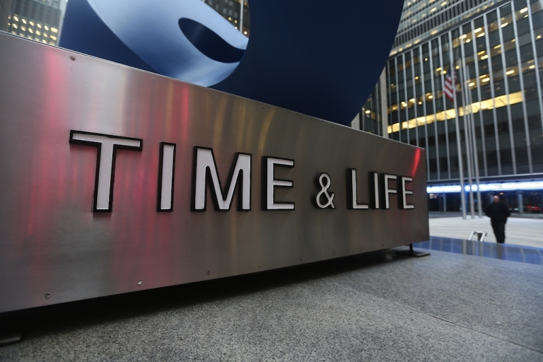 <p>A sign stands in front of the Time &amp; Life building in Manhattan on January 30, 2013 in New York City.</p>