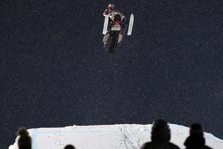 <p>Levi LaVallee goes airborne en route to winning the gold medal in the Snowmobile Freestyle at Winter X Games Aspen 2013 at Buttermilk Mountain on January 24, 2013 in Aspen, Colorado.</p>