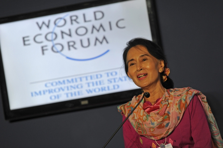<p>Myanmar democracy leader Aung San Suu Kyi speaks at a press conference during the World Economic Forum on East Asia at the Myanmar International Convention Center in Naypyidaw on June 6, 2013.  Aung San Suu Kyi on June 6 declared her intention to run for president, calling for all of the country's people to share the fruits of its dramatic reforms.       AFP PHOTO / Soe Than WIN        (Photo credit should read Soe Than WIN/AFP/Getty Images)</p>