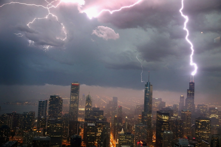<p>Lightning strikes the Willis Tower (formerly Sears Tower) in downtown on June 12, 2013 in Chicago, Illinois.</p>