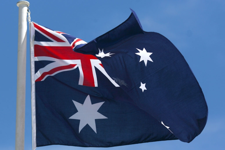 <p>Australian flag waves in the wind in Queenstown, New Zealand.</p>