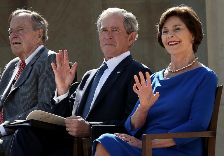 <p>Former U.S. President George H.W. Bush, former President George W. Bush and his wife, former first lady Laura Bush, at the George W. Bush Presidential Center on April 25, 2013 in Dallas, Texas.</p>