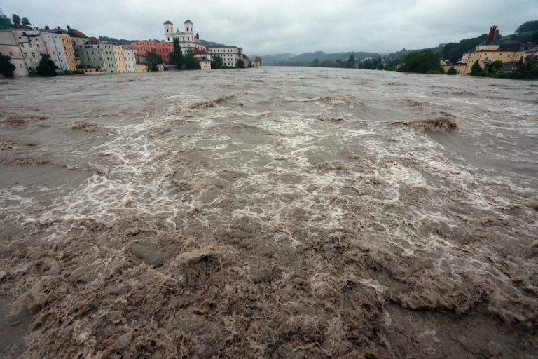 <p>General view of the southern German town of Passau, flooded by the rising river Inn, on June 3, 2013. Heavy rains across central Europe are causing severe flooding.</p>
