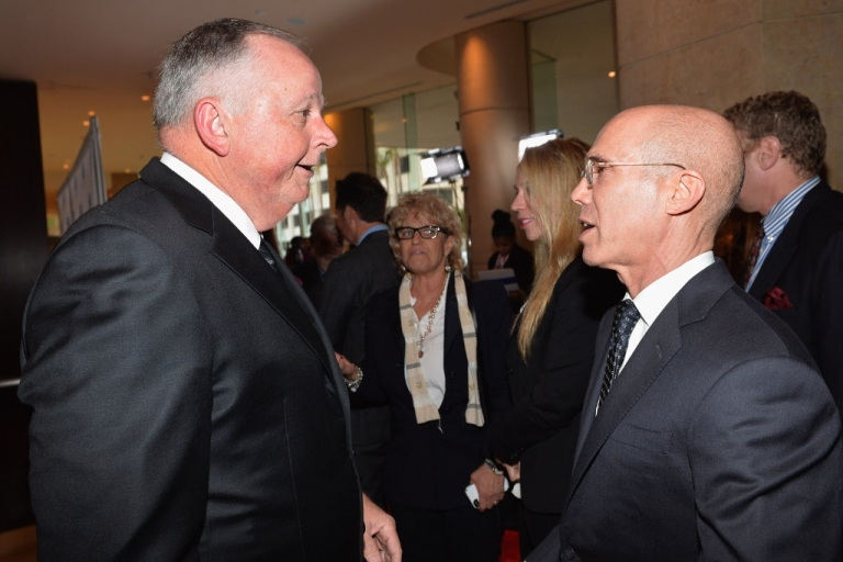 <p>Former Walt Disney Studios Chairman Dick Cook and Dreamworks Animation CEO Jeffrey Katzenberg attend the Anti-Defamation League's Centennial Entertainment Industry Award Dinner at The Beverly Hilton Hotel on May 8, 2013 in Beverly Hills, California.</p>