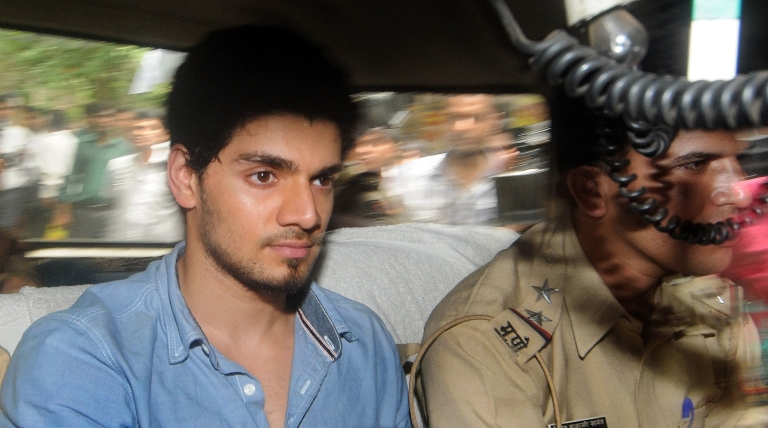 <p>Indian actor Sooraj Pancholi, boyfriend of the late Bollywood film actress Jiah Khan,  on his way to a court in Mumbai on June 11, 2013, on suspicion of abetting her suicide.</p>