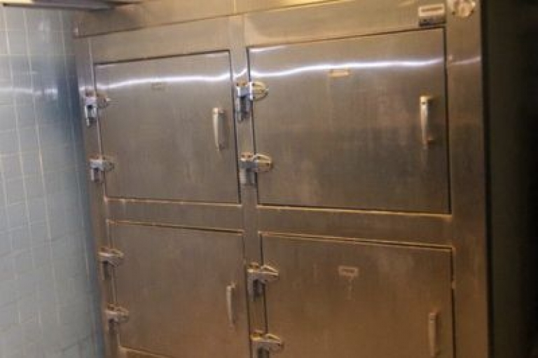 <p>New York's Office of General Services is selling this used, four-drawer morgue refrigerator on eBay.</p>