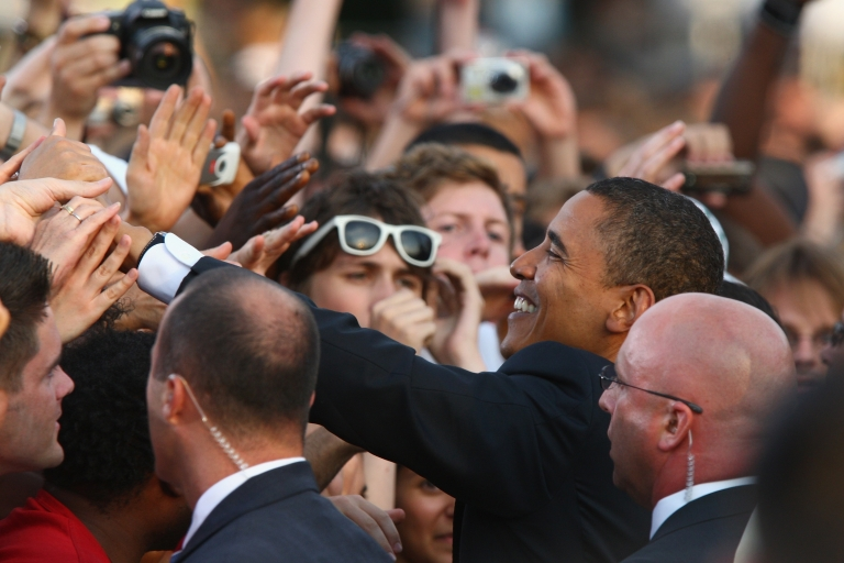 <p>Barack Obama greets elated supporters in Germany after his July 2008 speech in Berlin.</p>