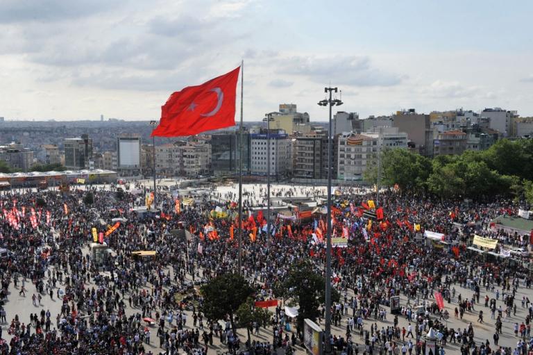 <p>Protestors gather on Taksim Square on June 2, 2013.</p>