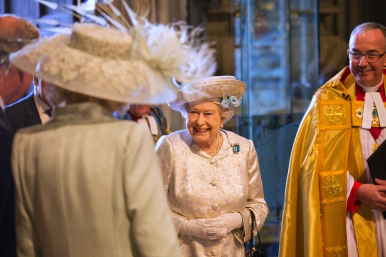 <p>Queen Elizabeth II arrives with The Dean of Westminster, Dr. John Hall, at a service to celebrate the 60th anniversary of the coronation of Queen Elizabeth II at Westminster Abbey, on June 4, 2013 in London, England.</p>