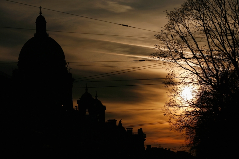 <p>A silhouette of St. Isaac's church at sunset in Saint Petersburg, Russia. (Photo by Harry Engels/Getty Images)</p>