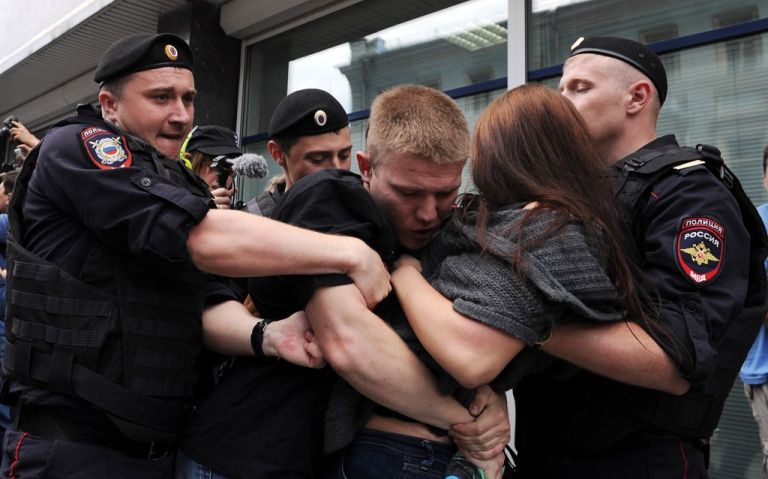 <p>June 11, 2013- Police officers detain gay rights activists protesting outside the State Duma in Moscow against a bill signed by Russia's parliament yesterday, banning homosexual