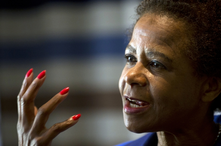 <p>Anti-apartheid activist Mamphela Ramphele, speaks to the press on June 6, 2013 in Johannesburg. Ramphele is launching an opposition party which will challenge the ANC in next year's elections.</p>