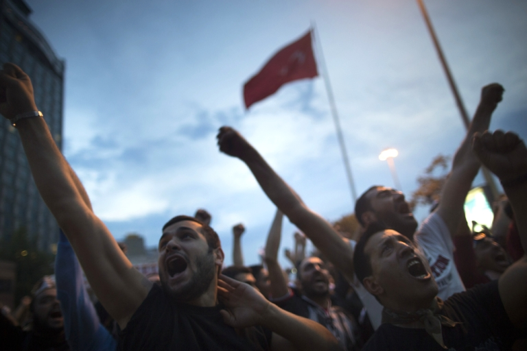 <p>Turkish police used water cannon to disperse thousands who had gathered in Taksim Square in Istanbul, Turkey to protest the destruction of a park. The park project was canceled by a Turkish court in a ruling released July 3, 2013.</p>