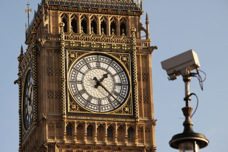 <p>A CCTV camera trained on London's Parliament Square.</p>