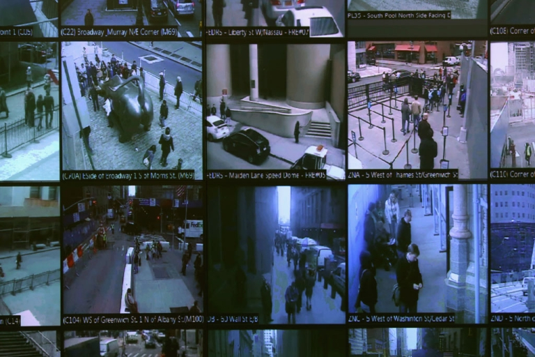<p>Monitors show imagery from security cameras seen at the Lower Manhattan Security Initiative on April 23, 2013 in New York City.</p>