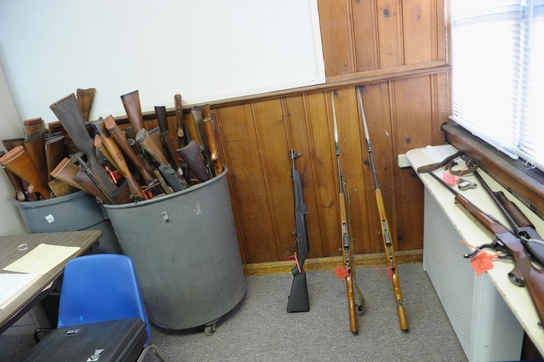<p>Three Chinese SKS Assault rifles stand between other firearms turned in during a gun buyback program on March 9, 2013 in Keansburg, New Jersey. In a national effort to curb gun violence, the NJ Attorney General's Office in cooperation with the Monmouth County Prosecutor's Office held an anonymous buyback program where every gun turned in is to be melted down.</p>